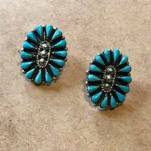 Jewelry - Sterling Silver HUGE Turquoise Earrings